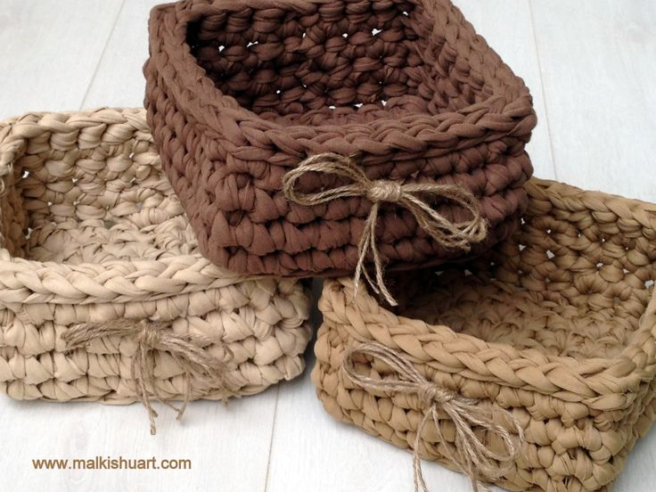 crochet T shirt yarn square basket