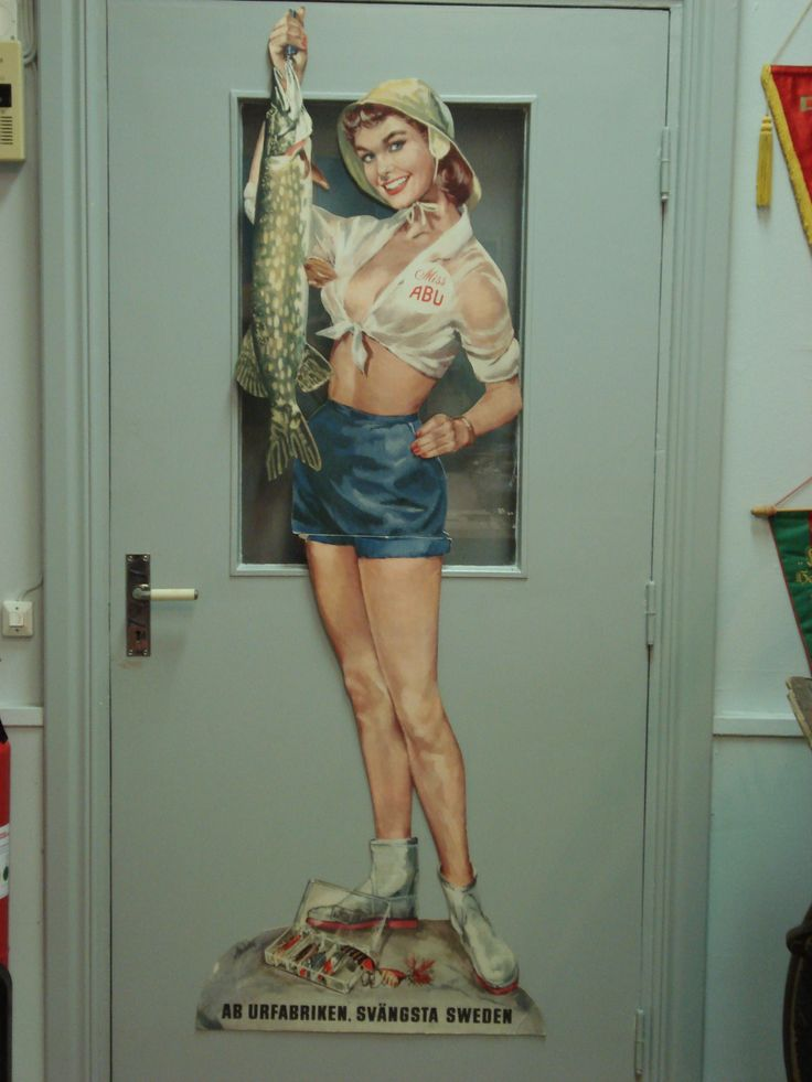 Highly sought after; the cardboard Miss Abu, tacke shop decoration, ca 1955 - 1960.