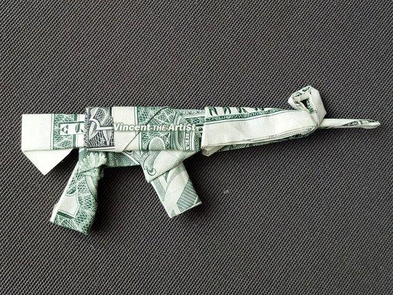 ASSAULT RIFLE Money Origami Dollar Bill by Vincen…