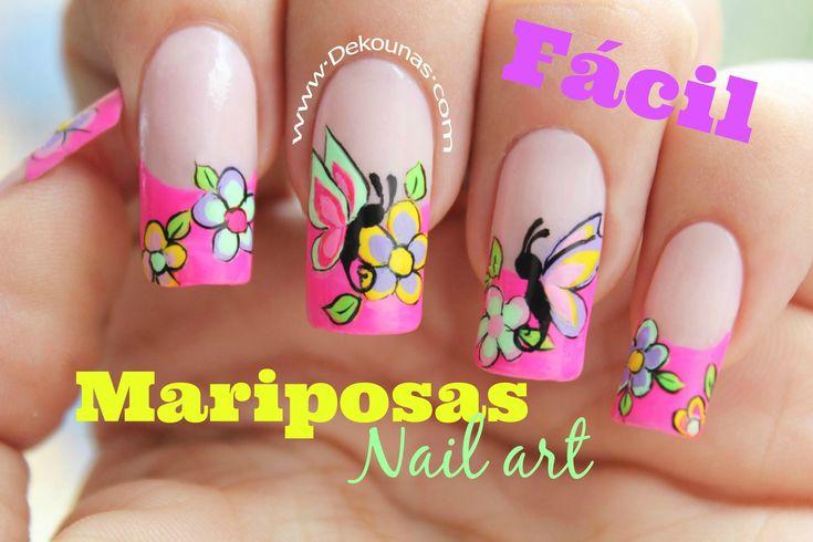 Decoración de uñas FACIL de mariposas y flores - Easy Butterfly nail art Para esta decoración he usado las pinturas acrilicas profesionales Deko, pincel de d...
