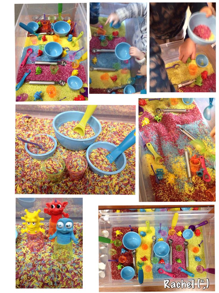 "Exploring capacity with rainbow rice - from Rachel ("",)"