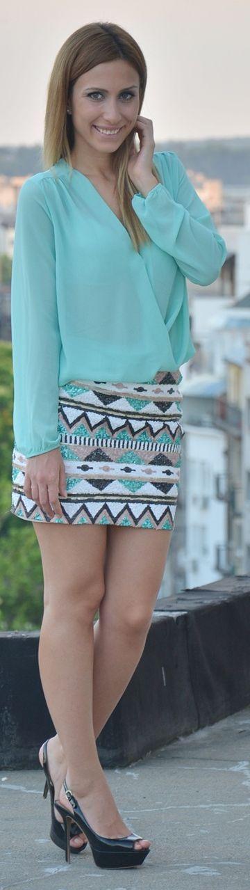 Afershock London Multi Coloured Aztec Print Sequin Embellished Mini Skirt