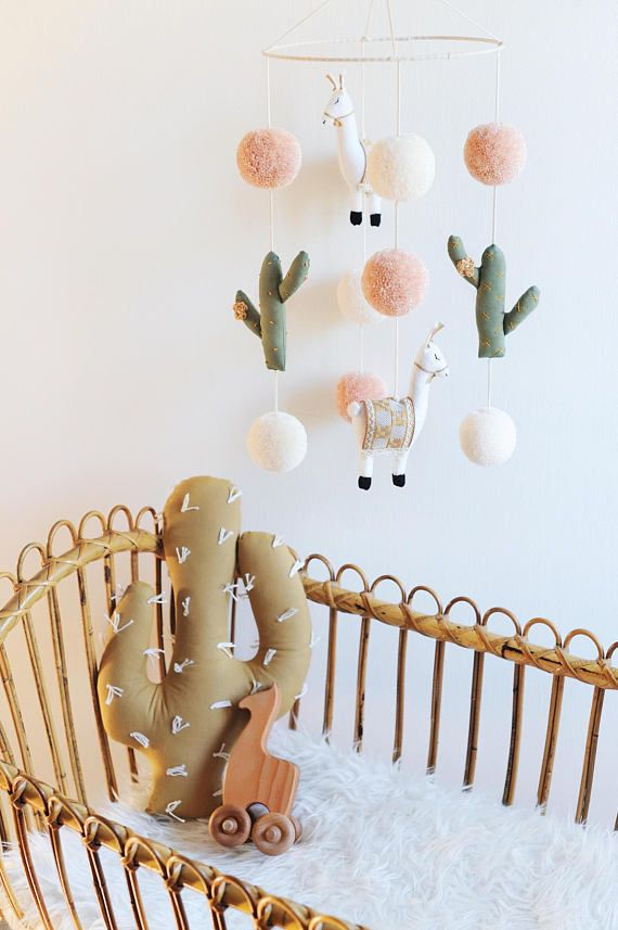 Llama & Cactus Nursery Mobile from BohoBabyHeaven on Etsy