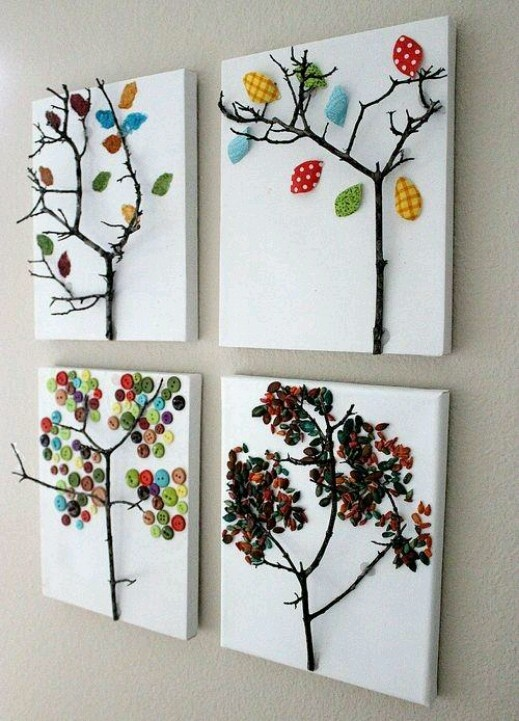 Canvas ideas: how pretty! i'd love to do one with each of the seasons on them
