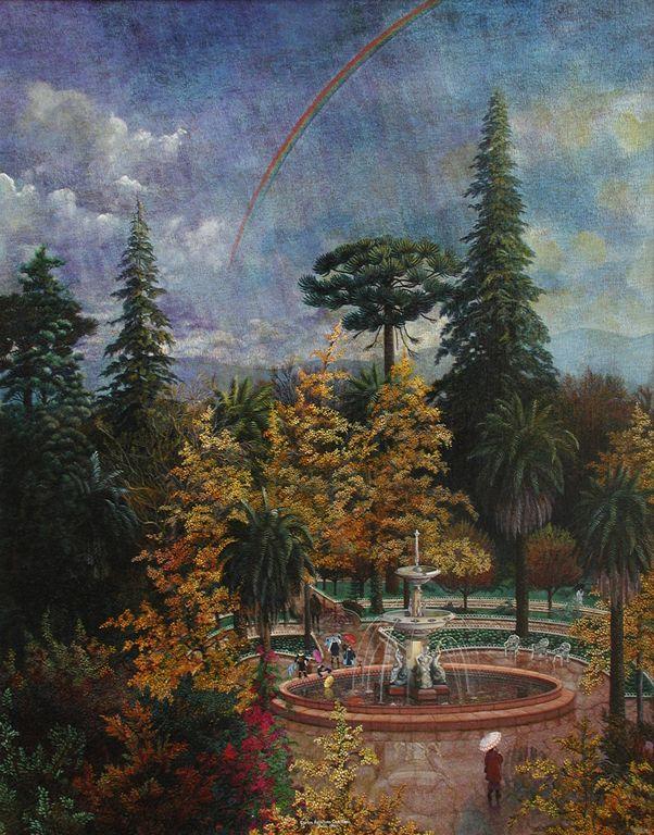Plaza de Armas - San Fernando - Chile - Oleo/tela 80x100 ctms. 2005 - Colección de Arte Universidad de Talca - Chile.