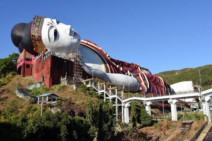 The Reclining Buddha, Win Sein Taw Ya, is the world's largest and still incomplete after 17 years.