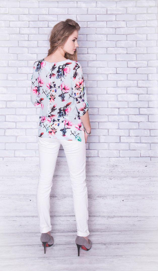 Bluzka koszula, błękit - magnolie /rozm.36/ - BanaNovo - Bluzki