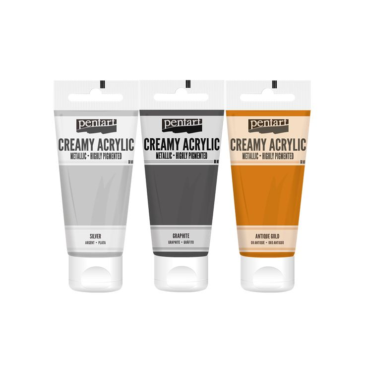 Creamy Acrylic paint - metallic // A new member has joined to our acrylic paint family. This new, creamy, water based, thick paint is provided in tube. Currently it is available in semi-gloss and metallic colors and it can be displayed very attractively due to its practical packaging. We highly recommend it to create thicker textures and use in stencil. It gets dried easily and quickly even if we apply in a thick layer.