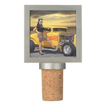 Sunset Graffiti Hot Rod Coupe Pin Up Car Girl Wine Stopper - girl gifts special unique diy gift idea
