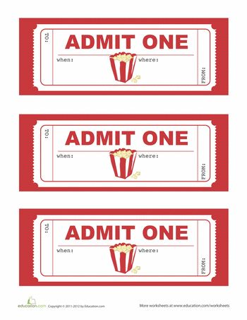 Movie Party Invitations, can be used for door prizes also.