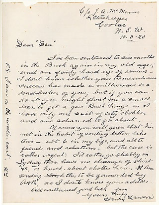 Letter from Henry Lawson