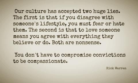 """You don't have to compromise convictions to be compassionate."" AMEN to that!!"