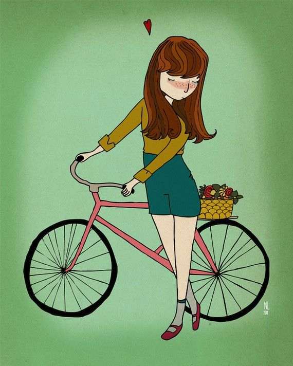 Lets go ride our bikes!    This is a print from an original ink drawing that was digitally painted.    Printed on Matte Photo Paper.    Image will not