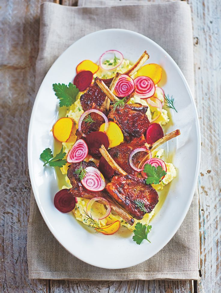 Jamie Oliver's Lamb cutlets with beetroot salad & chive mash #Lamb #Beetroot #Salad #Spring