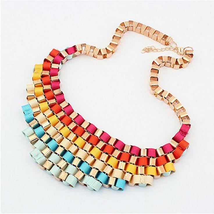 Персонализированные ювелирные изделия нагрудник воротник колье ожерелье с модное цветная лента 12 шт. / lot ZD6P3C