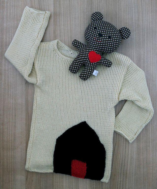 Merino wool sweater for kids. House appliqué sweater. Beige children sweater…