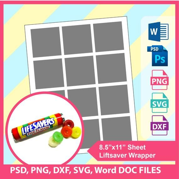 Lifesaver Wrapper Template Microsoft Word Doc Psd Png And Etsy Life Savers Wrapper Templates