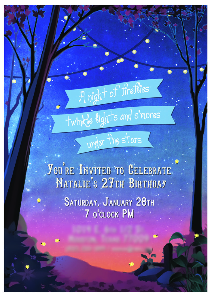 invitation    a night of fireflies  twinkle lights  and s