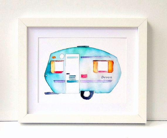 Personalised Nursery Print Caravan Decor Kids by EmmaAllardSmith