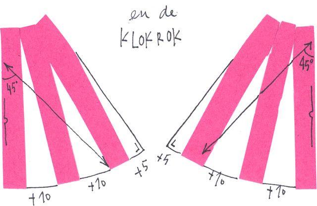Zelf patroon a-lijn en klokrok maken. Klokrok schuin van draad knippen (hoek van 45 gr tekenen tov middenvoor en deze als grainline gebruiken)
