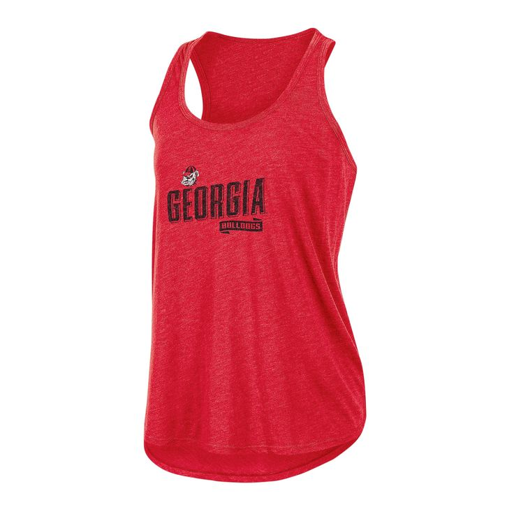 NCAA Women's Gameday Heathered Racerbank Soft Touch Poly Tank Top Georgia Bulldogs - M, Multicolored