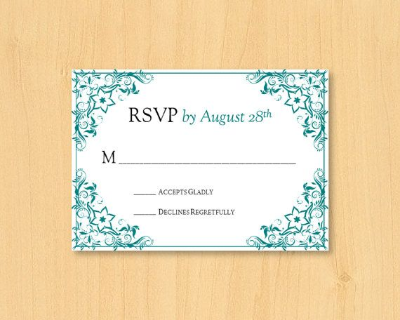 DIY wedding printable response rsvp template for by DIYWedTemplate