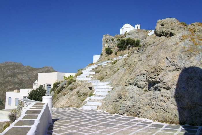 Take the steps up the church on your walk on Serifos