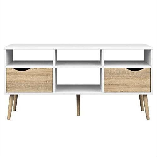 White Natural Oak TV Stand with Modern Style Wood Legs