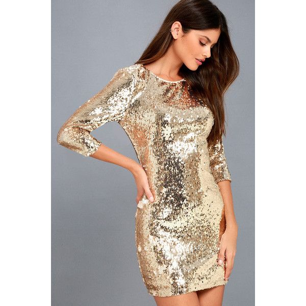 Lulus  Pass the Champagne Light Gold Sequin Bodycon Dress ($22) ❤ liked on Polyvore featuring dresses, gold, champagne sequin dress, champagne cocktail dress, champagne dresses, sequin party dresses and mesh bodycon dresses