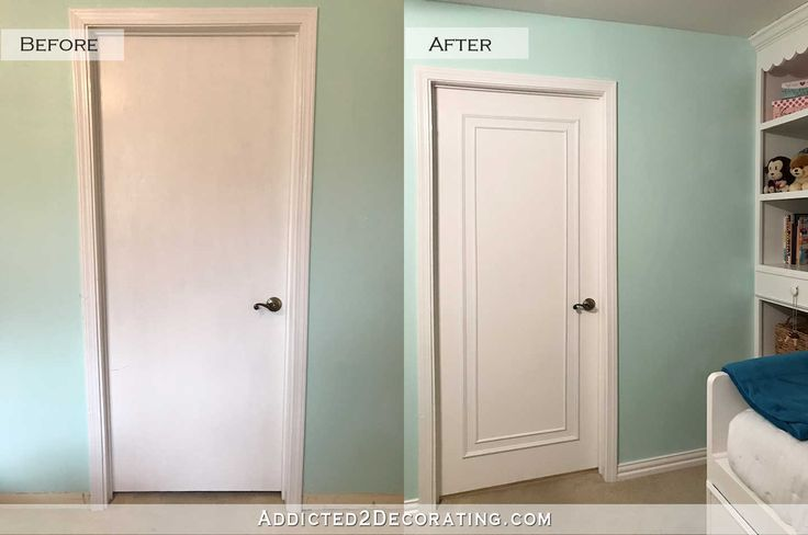 The last decorative project I wanted to do in my niece's bedroom was address her flush (flat) hollow core doors. Neither my mom nor I wanted to spend the time or money replacing the doors, so…