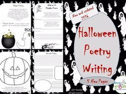 """his is 15 pages of Halloween themed poetry writing. The poetry writing examples used in the unit are original verse. The students get so involved in Halloween each year and are so motivated by the numerous """"scary themes"""" they are more susceptibl..."""