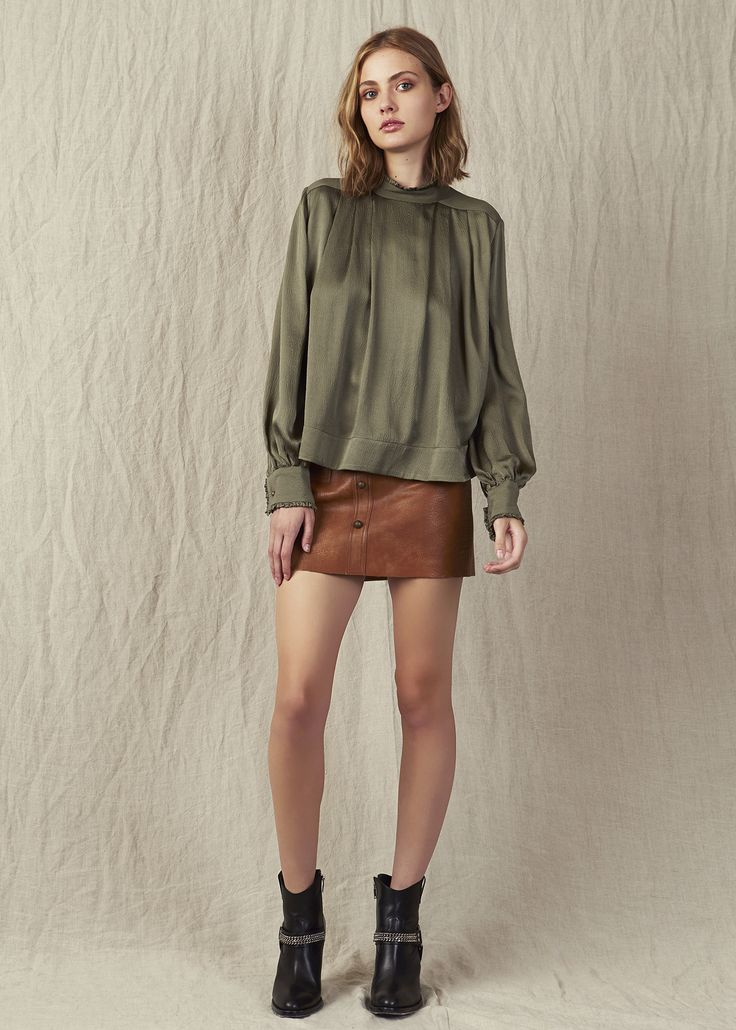 Mini tan leather skirt khaki silk high neck blouse Model - Kerryn @ IMG Beauty - Isabella Schimid @ Union Management Photographer - John Rintoul. #AjeTheLabel #Aje #Fashion #Style #LookBook #AW17 #Autumn #Winter #2017 #AustralianFashion #Designer