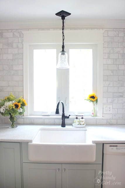 How to Frame a Window: Tutorials + Tips for DIY Window Casings -kitchen window - light fixture?