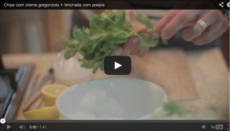 Chips com creme gorgonzola + limonada com poejos. Rosti de batatas. Veja a vídeo-receita no nosso canal youtube em: https://www.youtube.com/watch?v=Ksa3k4LcbjQ