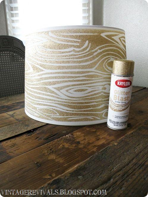 Wood Grain Glitter Lampshade With Krylon Glitter Blast - Vintage Revivals