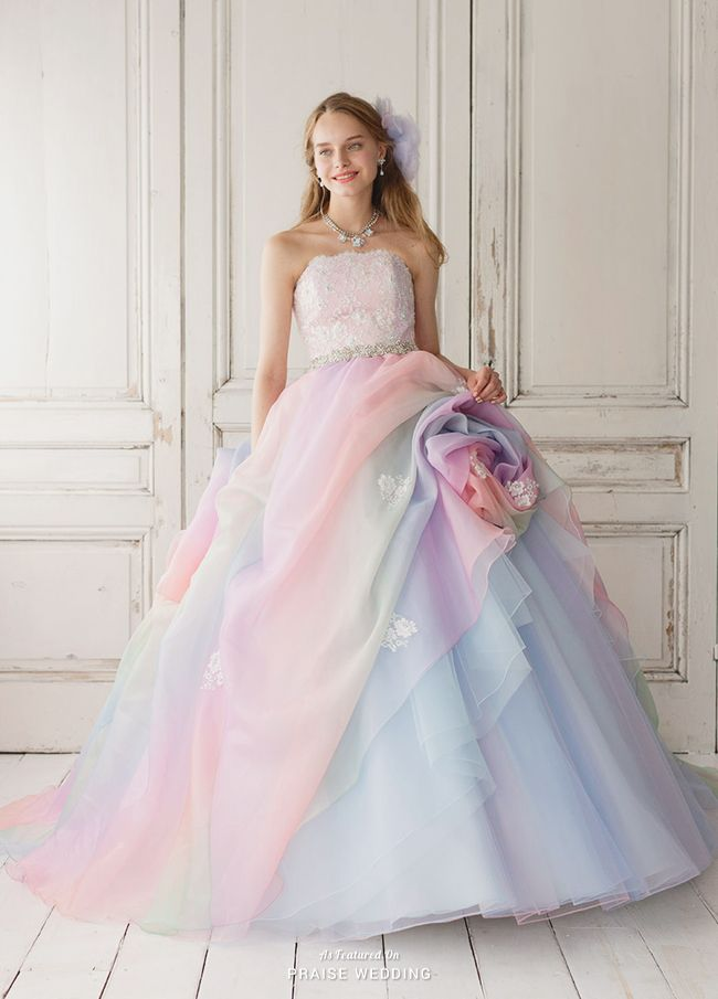 This pastel rainbow gown from Yumi Katsura featuring layers of romance is a show stopper!