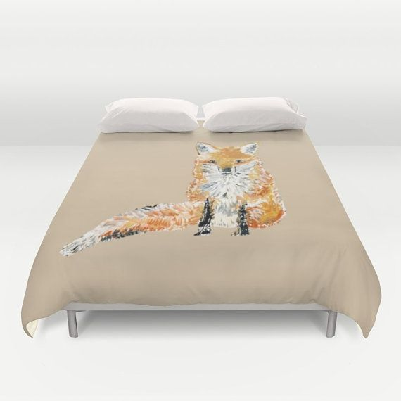 Fox Brown Duvet Cover fox bed cover fox bedding by lake1221