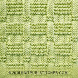 Easy knitting stitch with rows of reverse garter and stockinette tiles. The beautiful detailing is created by embellished 3-stitch stockinette ribs. | knitpurlstitches.com