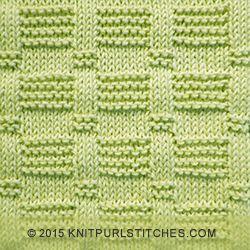 Fácil de puntada de tejer con filas de baldosas de liga y de jersey revés.  El detalle hermoso es creado por las costillas jersey 3-puntada embellecido.