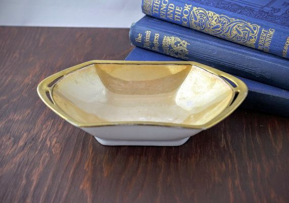 Art Deco Gold Lustre Dish  Vintage MZ Altrohlau by LoAndCoVintage