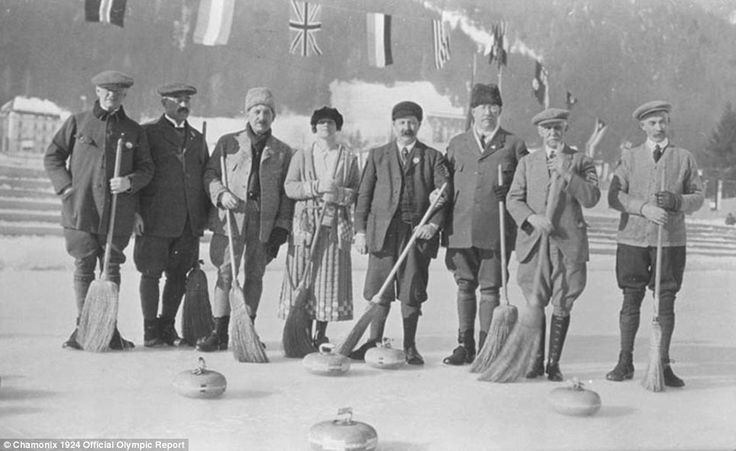A genteel affair: The Swedish and British curling teams stand on the ice at the foot of Mont Blanc during the very first Winter Olympics in France in 1924
