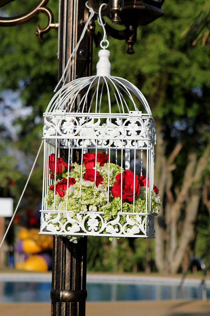 Hermosas jaulas decoradas para tu boda! www.floresydetallescr.com