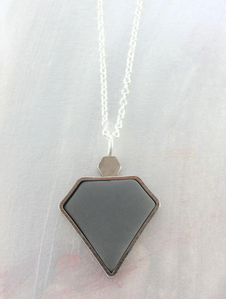 Charcoal Diamond Necklace  www.cloudninecreative.co.nz