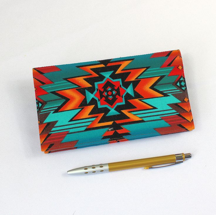 Southwest Fabric Checkbook Cover with Pen Holder, Optional Duplicate Check Flap, Turquoise and Rust by QuiltSewCover on Etsy