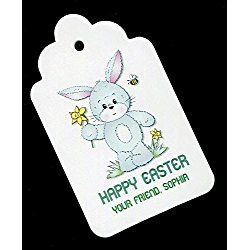 Easter Gift Tags, Bunny with Daffodil, Personalized Set of 25