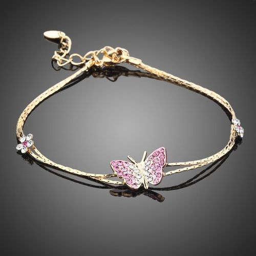 Gold Color Crystal Butterfly and Flower Charm Bracelet