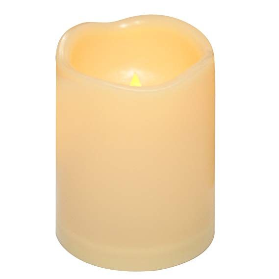 Outdoor Flameless Led Candles With Timer Waterproof Plastic Resin Realistic Flickering Battery Operate Led Pillar Candle Flameless Led Candles Pillar Candles Fake candles that look real