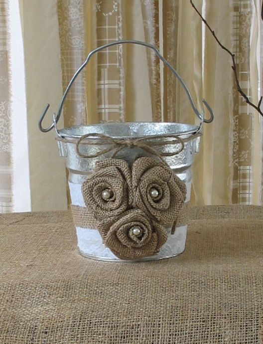 Flower Girl Basket Bucket for a Shabby Chic Wedding Rustic Wedding on Etsy, $30.00