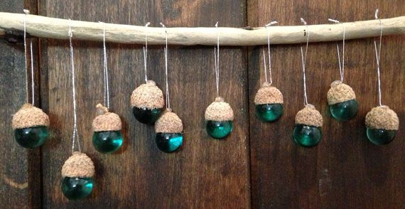 Acorn toppers with seagreen marbles/ Wedding by YourNaturalLife, $20.00