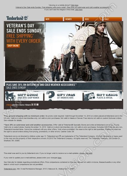 Company: The Timberland Company   Subject: In honor of Veteran's Day. The shipping is on us.         INBOXVISION, a global email gallery/database of 1.5 million B2C and B2B promotional email/newsletter templates, provides email design ideas and email marketing intelligence. www.inboxvision.c... #EmailMarketing  #DigitalMarketing  #EmailDesign  #EmailTemplate  #InboxVision  #SocialMedia  #EmailNewsletters